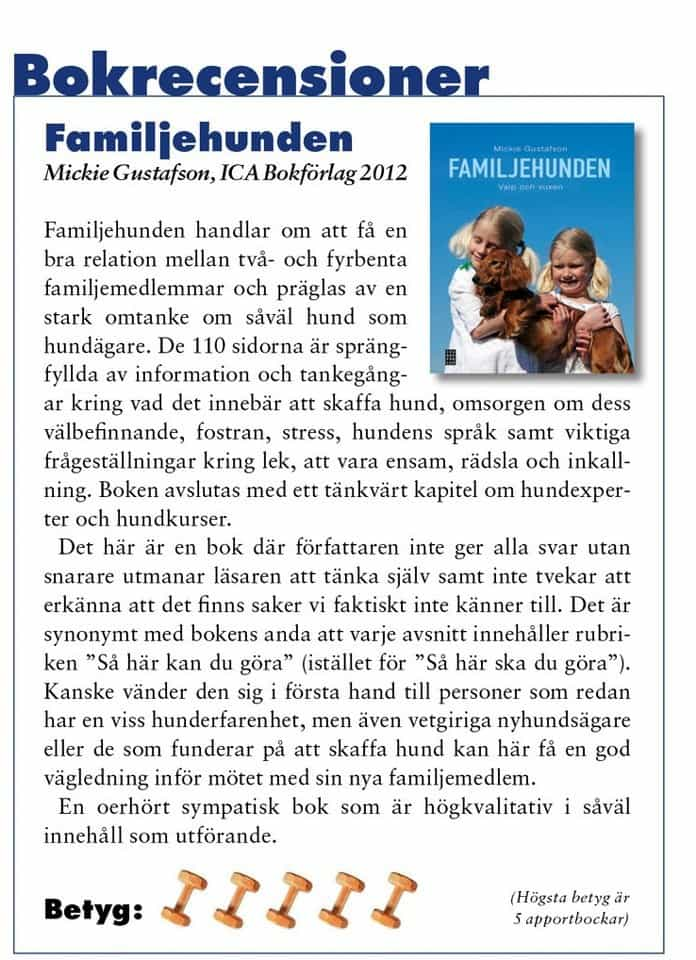 Recension Familjehunden, text